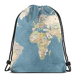 Blue Country World Map High Detailed Worldmap Beige 3D Print Drawstring Backpack Rucksack Shoulder Bags Gym Bag For Adult 16.9X14