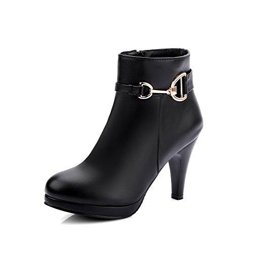 AllhqFashion High-Heels Women's PU Low-Top Solid Zipper High-Heels AllhqFashion Boots B01NCN31AV Shoes 8d4fcd