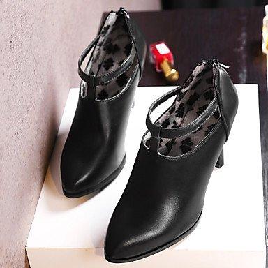 LFNLYX Mujer-Tacón Stiletto-Tacones / Botines / Puntiagudos-Botas-Oficina y Trabajo / Casual / Fiesta y Noche-Semicuero-Negro / Beige Black