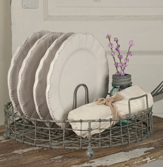 (Colonial Tin Works Galvanized Metal Vintage Dish Rack with Utensil Holder,Gray,1 Bottle)