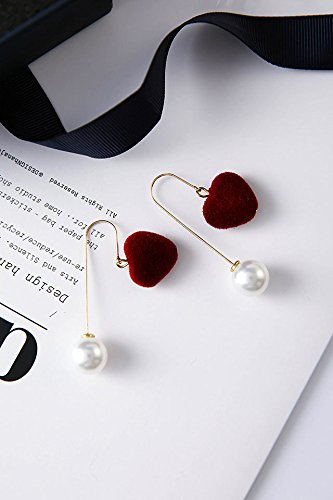Pearl Stereo - Generic Korean_style_of autumn fashion _new_elegant_ girls_in_ silk _satin_stereo_love_heart-shaped_ pearl pendant necklace s ear Nail earrings Earring eardrop