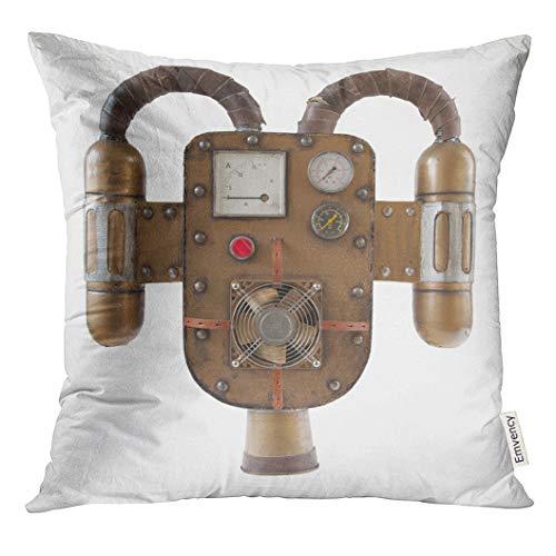 (VANMI Throw Pillow Cover Machine Steampunk Jetpack White Part of Costume Victorian Copper Decorative Pillow Case Home Decor Square 20x20 Inches)