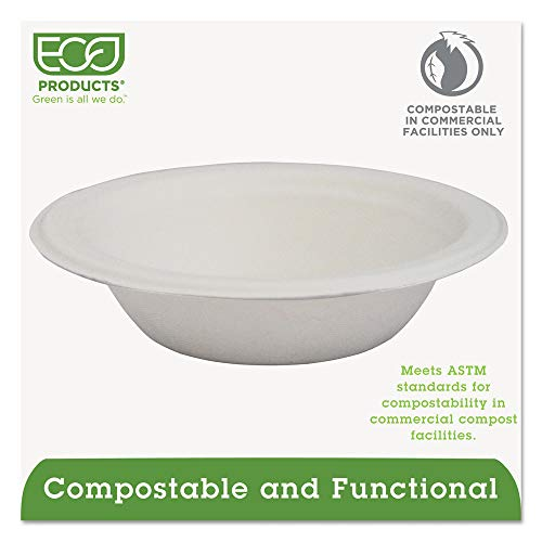 Eco Products 100 Percent Biodegradable Sugarcane Round Bowl, 12 Ounce -- 1000 per case.