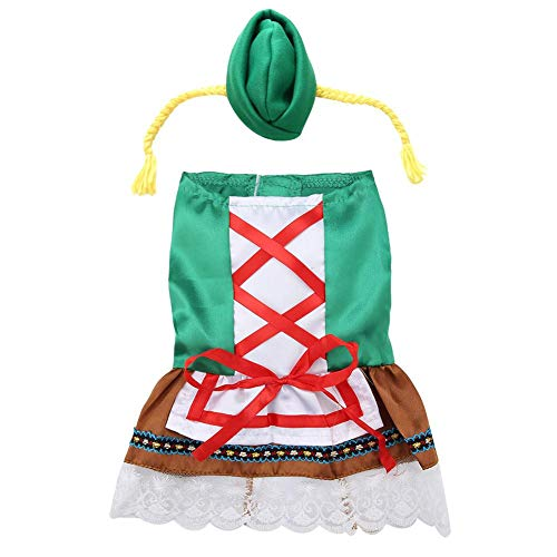 Dog Dress Christmas Waitress Costume Oktoberfest Dirndl Dog Dress Suit with Multiple Sizes(S)