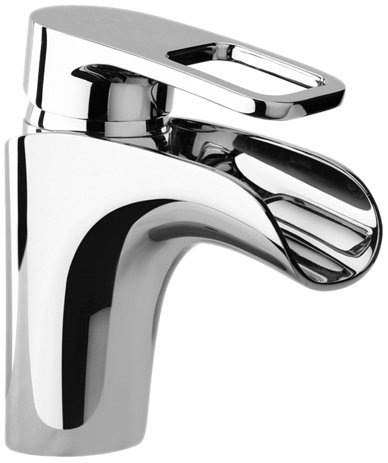 (Jewel Faucets 10212 Single Loop Handle Lavatory Faucet with Waterfall Spout, Chrome)