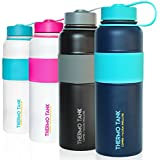 Thermo Tank Insulated Stainless Steel Water Bottle - Ice Cold 36 Hours! Vacuum + Copper Technology - SS Inner Lid, Silicone Grip - 40 Ounce (Navy + Mint, 40oz)