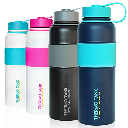 Thermo Tank Insulated Stainless Steel Water Bottle   Ice Cold 36 Hours  Vacuum   Copper Technology   Ss Inner Lid  Silicone Grip   40 Ounce  Navy   Mint  40Oz