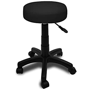 swivel stool chair office black adjustable deskchair round swiveling 5 casters rollable cosmetic. Black Bedroom Furniture Sets. Home Design Ideas