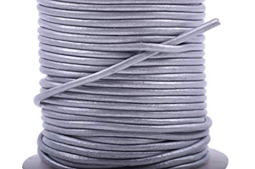 KONMAY 25 Yards Solid Round 1.5mm Metallic Silver Gray Genuine/Real Leather Cord Braiding String (1.5mm, Metallic Silver Gray) ()