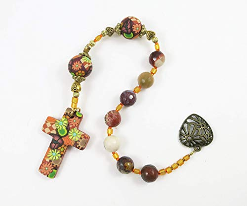 Faceted Moukite Jasper Anglican Chaplet Handmade Polymer Clay Cross and Focal Beads