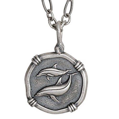 Guy Harvey Large Dolphin Medallion Sterling Silver Necklace