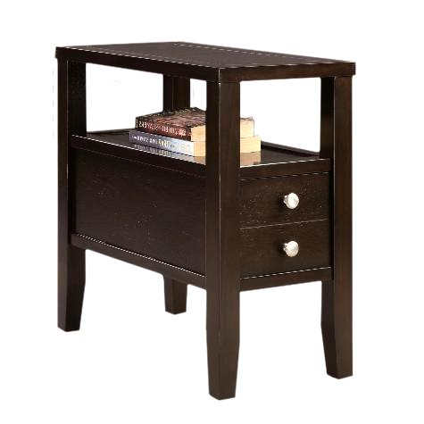 Cappuccino Espresso Finish Wood Bed Side End Table Nightstand - Cappuccino Finish Bed
