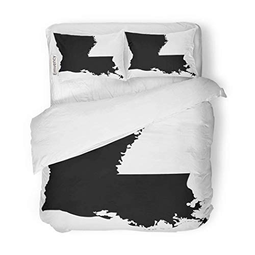 - PENGTU PremiumDuvet Cover Set Outline High Detailed Map Louisiana Shape Abstract America Decorative Bedding Set with 2 Pillow Cases Full/Queen Size