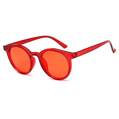 Retro Mujer Colores Sol Unisex Hombres Rojo Gafas LINNUO Sunglasses de Redondas Eyewear zSYZW84