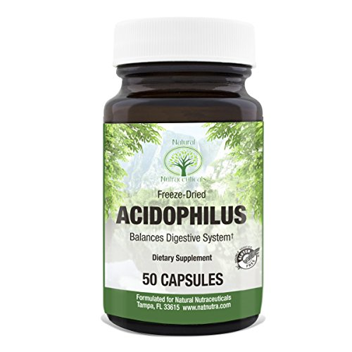 Acidophilus Chew (Acidophilus Probiotic Supplement by Natural Nutra – Freeze Dried Lactobacillus – Supports Healthy Digestive System, 50 Capsules)