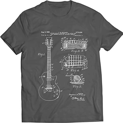 - Gibson Les Paul Guitar T-Shirt Music Tee Patent (XXL, Charcoal)