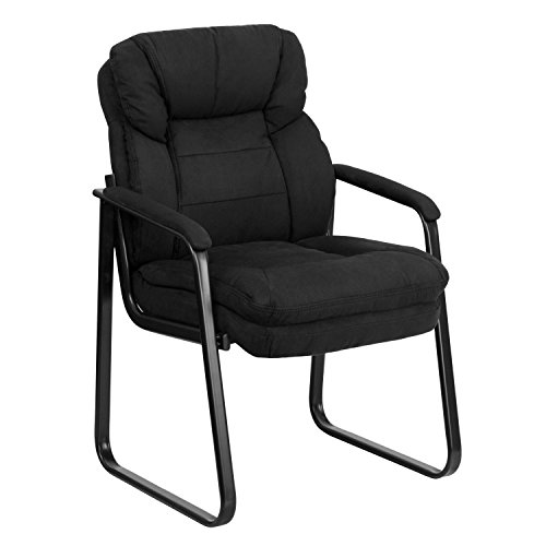 - Black Microfiber Executive Side Reception Chair with Lumbar Support and Sled Base