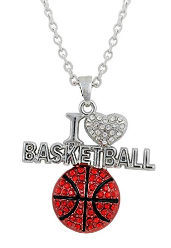 VASSAGO Sports Clear Crystal I Love Volleyball/I Love Football/I Love Basketball Heart Shape Pendant Necklace Gift for Sportsman Women Girls (I Love Basketball)