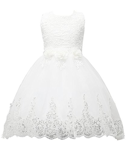 Tutu Ball Gown Sleeveless Lace Court Train Zipper Flower Girl Dresses Kids Pageant (Cute Girl In White Dress)