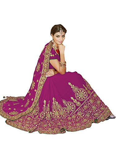 Sourbh Women's Indian Saree Bridal Bollywood Wedding Dress Blouse (9861_Pink)