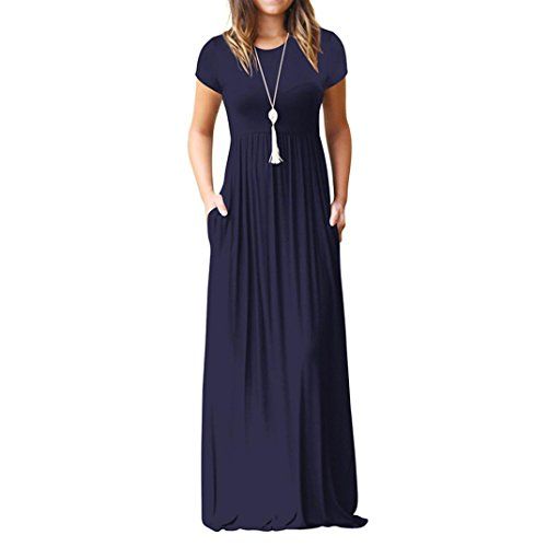 Howstar Women's Casual Long Dress Solid Short Sleeves Maxi Dresses for Ladies Party Dress with Pockets (S, Navy)