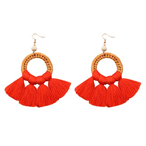 (Fashion Drop Dangle Girls Boho Earrings,Londony◈ Bohemian Retro Rose Gold Tassel Earrings Pink Fringe Gifts for Women.)