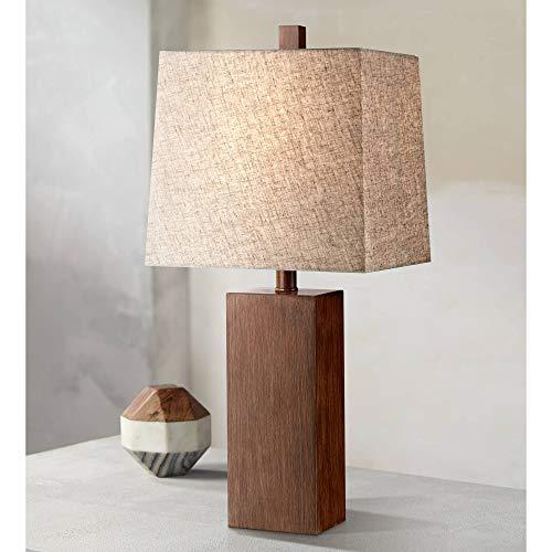 Darryl Modern Table Lamp Rectangular Block Wood Textured Tan Fabric Shade for Living Room Family Bedroom Bedside Office - 360 Lighting