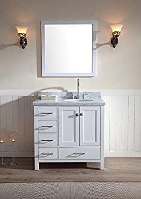 "ARIEL Cambridge A037S-R-WHT 37"" Single Sink Solid Wood Bathroom Vanity Set W/ Right Offset Sink In White and White 1.5"" Inch Carrara Marble Countertop"