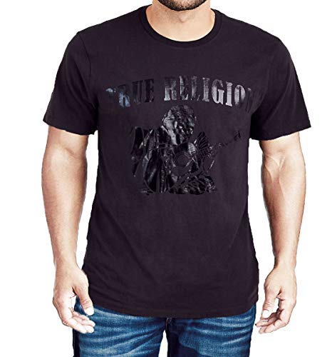 True Religion Mens Pitch Black Short Sleeve Crew Neck T-Shirt-Black