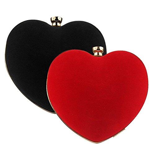 NPLE--Fashion Women Heart Clutch Shoulder Bags Evening Bag Party Wedding Purse Handbag (Black)