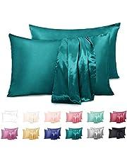 Duerer - Deux d'oreiller en Satin Soyeux pour Les Cheveux et la Peau - Taie d'oreiller Standard/Grand/Grand lit avec Fermeture à enveloppe