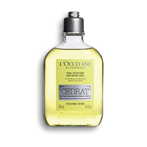 L'Occitane Men's Invigorating Cedrat Shower Gel for Body & Hair, 8.4 Fl Oz