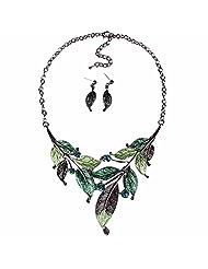 Qiyun Green Leaf Festoon Rhinestone Bib Necklace Stud Earrings Set Vert Feston Feuille Collier