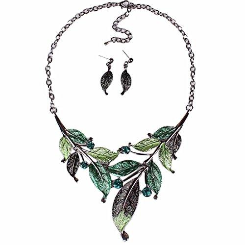 Qiyun (TM) Elegant Women's Green Leaf Festoon Rhinestone Bib Necklace Stud Earrings Set on sale