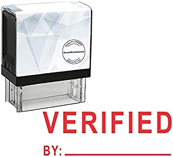 Verified by with Line Office Self Inking Rubber Stamp A-5865 StampExpression Red Ink
