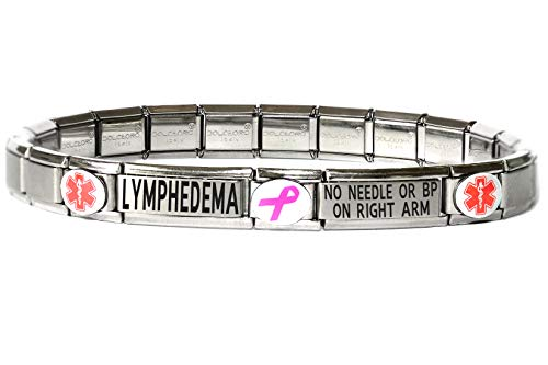 (Dolceoro Lymphedema NO Needle OR BP ON Right ARM Medical Alert Bracelet - Stainless Steel Stretchable Modular Charm)