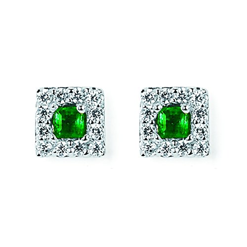 14K-White-Gold-12-Tgw-Emerald-And-Diamond-Halo-Square-Earrings-14-Ctw-Diamonds