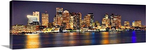 キャンバスボストンSkyline at Night 16インチx 48インチカラーCity Downtown写真印刷画像 Big Panoramic ブラック 人気-イメージラップエッジ(POPULAR-Image Wrap Edge)  B00G8BPEPQ