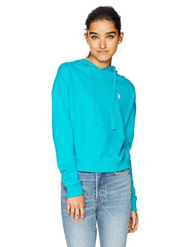 - US Polo Assn Women's Pullover Hoodie, deep Aquamarine S