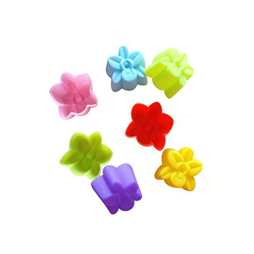 Vibola 12pcs Cupcake Silicone Mold Heart Muffin Soap Cake Mold Baking Tools Bakery and Pastry Tools Kitchen Accessories 3CM Chocolate Cupcake Random Color