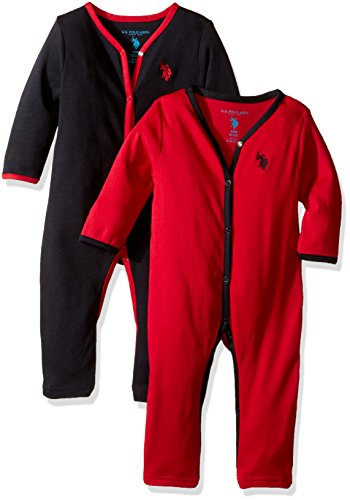 U.S. Polo Assn. Baby Boys' 2 Pack Sleep 'N Play Set, Black, 6-9 Months