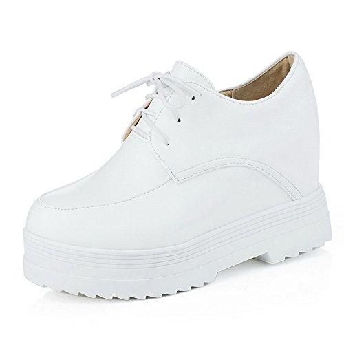 AgooLar Damen Rein PU Hoher Absatz Rund Zehe Schnüren Pumps Schuhe Weiß