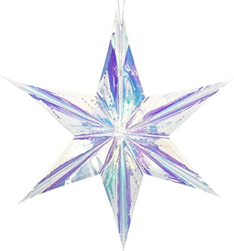 Etopfashion 虹色 飾り スターハンギングデコレーション クリアホイル装飾 折りたたみ デコレーション ブライダルシャワー 結婚式 誕生日 凍結テーマ