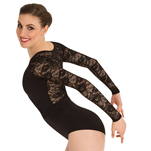 Body Wrappers Long Sleeve Leotard - Body Wrappers Womens Long Sleeve Lace Back Leotard (P1081) -Black -L