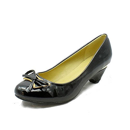 Ladies Low heel Court shoes with gold edging black patent bZpOG