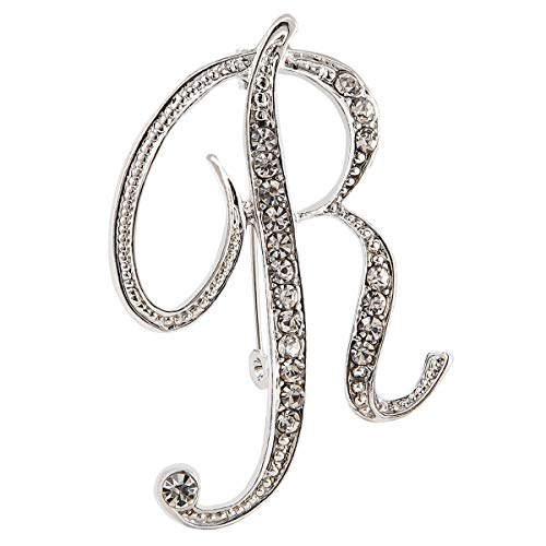 Diamond 26 English Letter Brooch Badge Collar Pin Buckle Suit Shirt Flower Accessories (R)