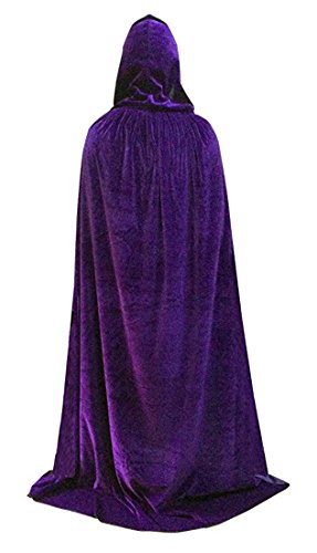Unisex Hooded Cloak Role Cape Play Costume Velvet Coat Purple Large