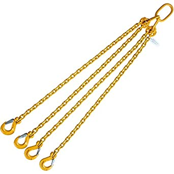 Grade 80 5//8X4 Chain Sling Single Leg with Sling Hook 18100 LBS Capacity