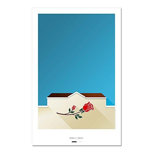 Rose Bowl - Minimalist Art Poster Print (11X17 Inches) - Football Bowl Ucla Rose