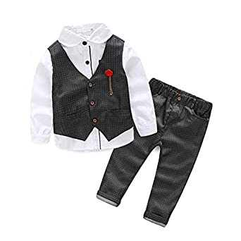 51dde9adb A P Boutique Baby Boy Waistcoat Shirt Pant Set Birthday Party Wear Clothes  Long Sleeves Shirt Suit